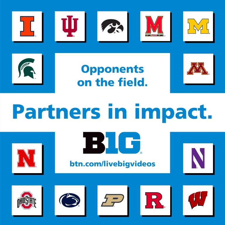 A graphic depicting all the Big Ten school logos