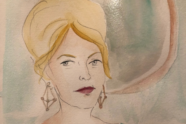 a watercolor of a woman's head with a mirror behind her