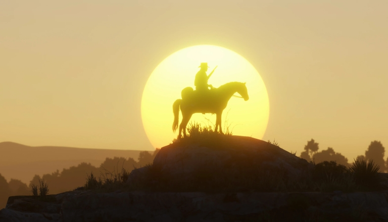 silhouette of a man on a horse in front of the setting sun