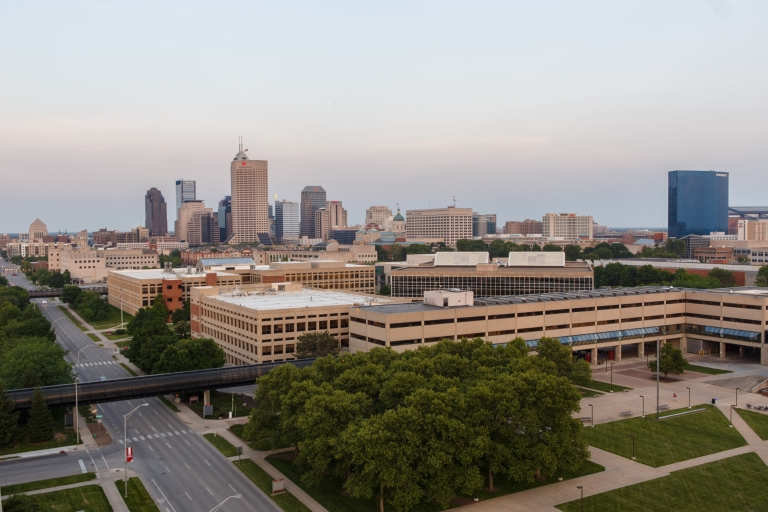 IUPUI campus with Indianapolis skyline