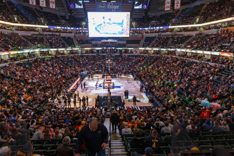 a wide view of Bankers Life Fieldhouse for a Indiana Pacers game