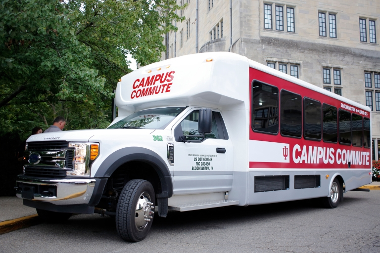 The Campus Commute shuttle on the IU Bloomington campus