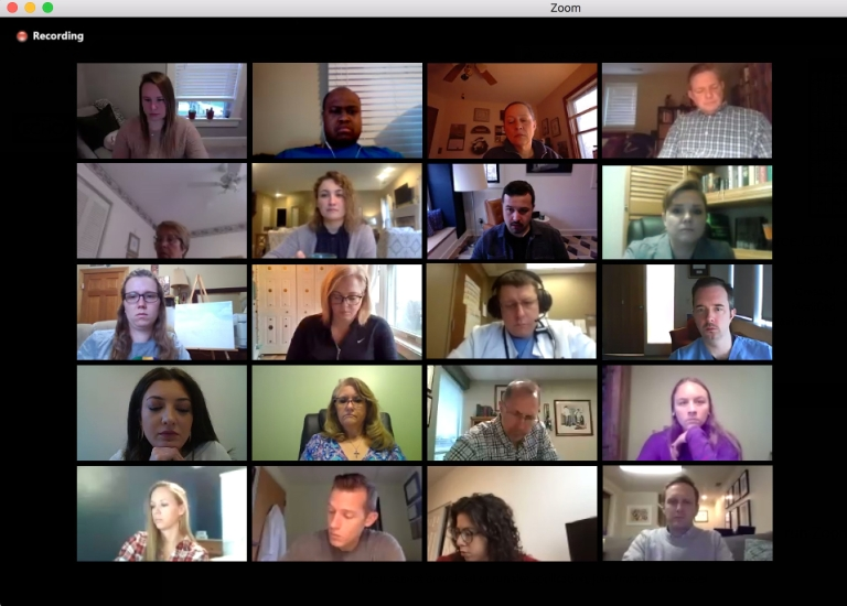 A screenshot of videoconferencing participants in the new COVID-19 ECHO