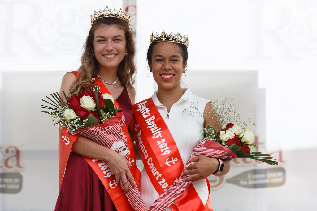 Emily Crowel and Bianca Marrufo pose for a photo after being crowed Regatta Royalty.