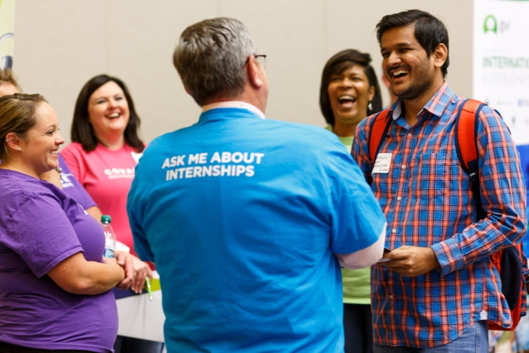 Students interact with employers at the Fall Intern Fair.