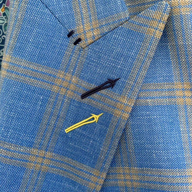 a buttonhole detail on a jacket by Elevated Citizen