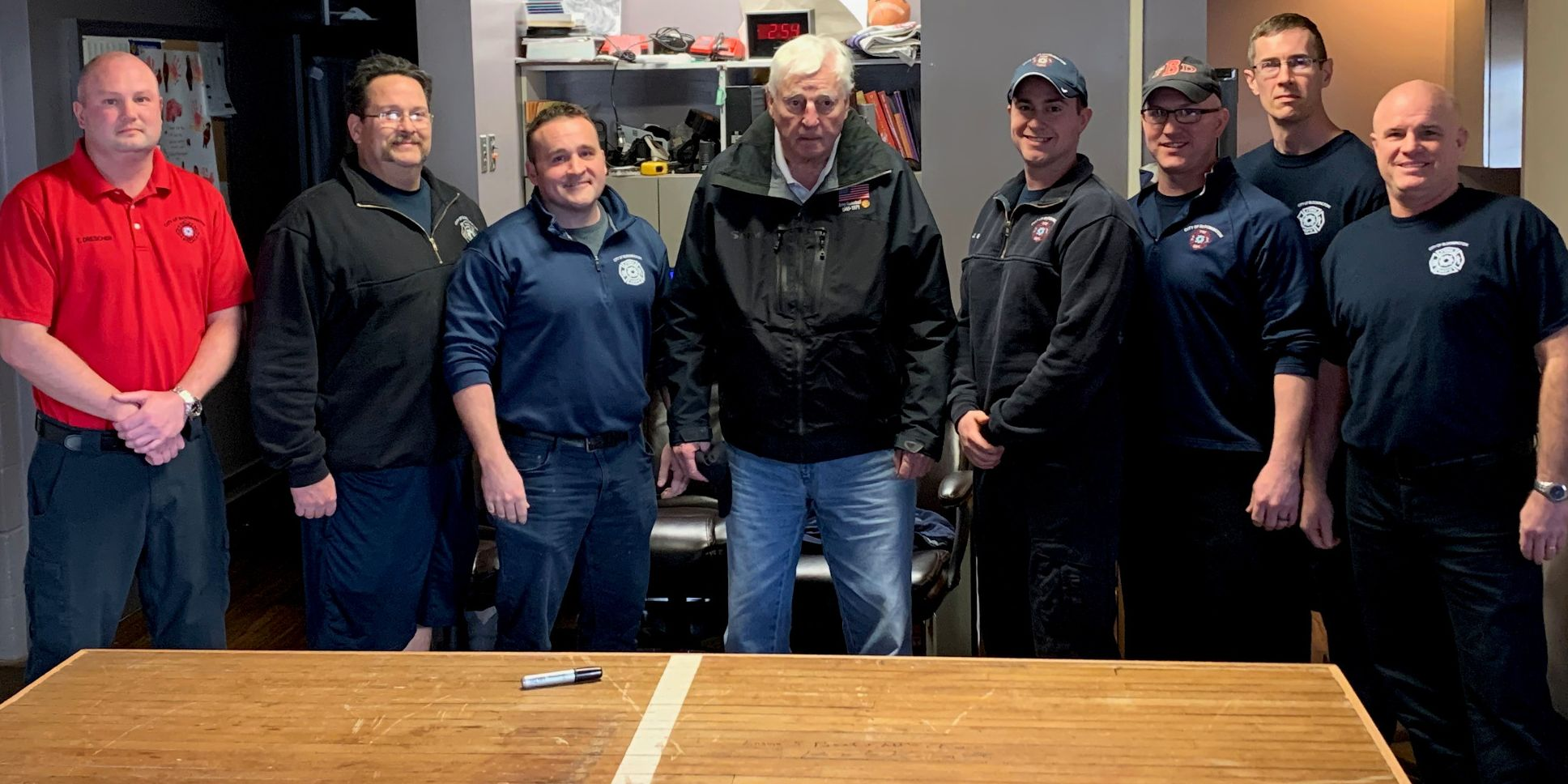 Bob Knight poses with the Station 5 firefighters