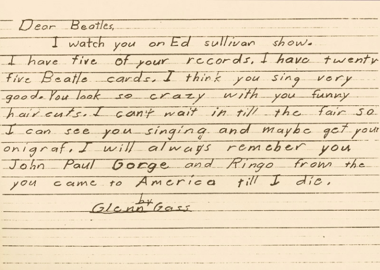 Glenn Gass' letter to The Beatles he wrote as a young child