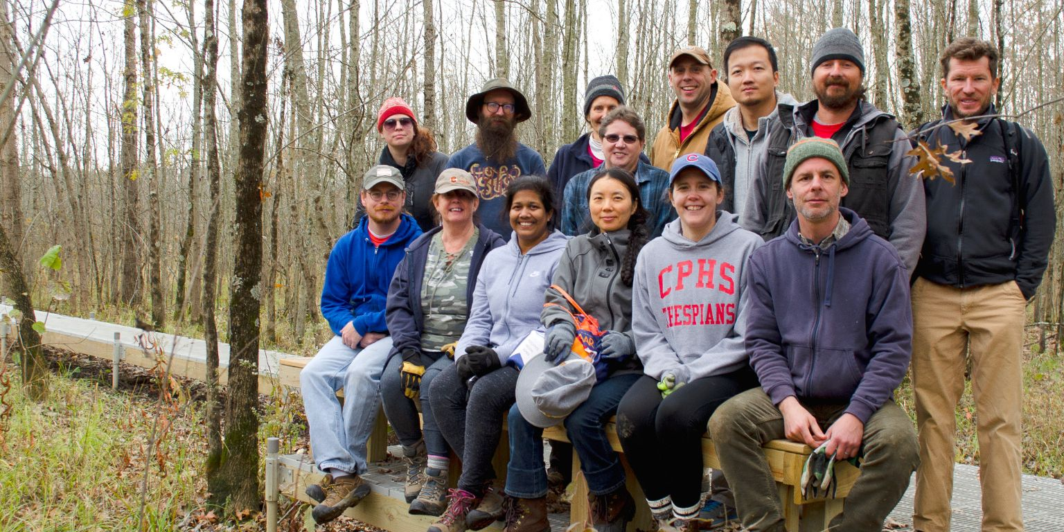 A group of IU Libraries staff members worked Nov. 6 at the Beanblossm Bottoms Nature Preserve.