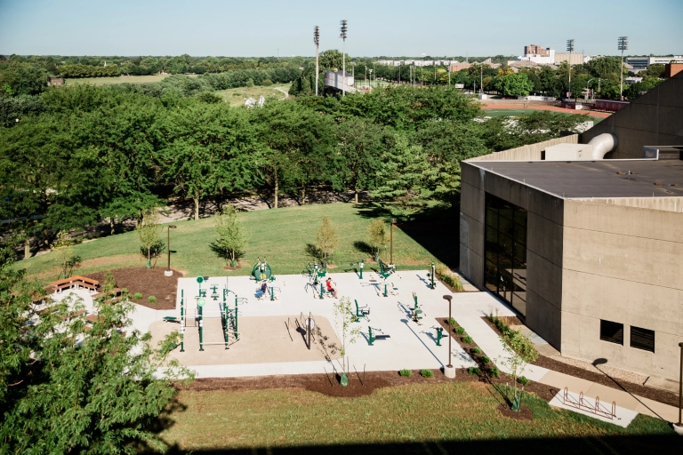 An elevated view of a collection of outdoor fitness equipment.