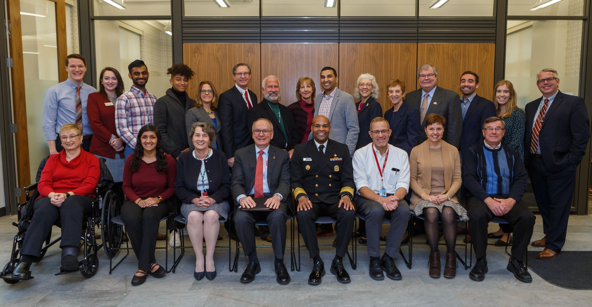 U.S. Surgeon General Jerome Adams poses with IU leaders and students