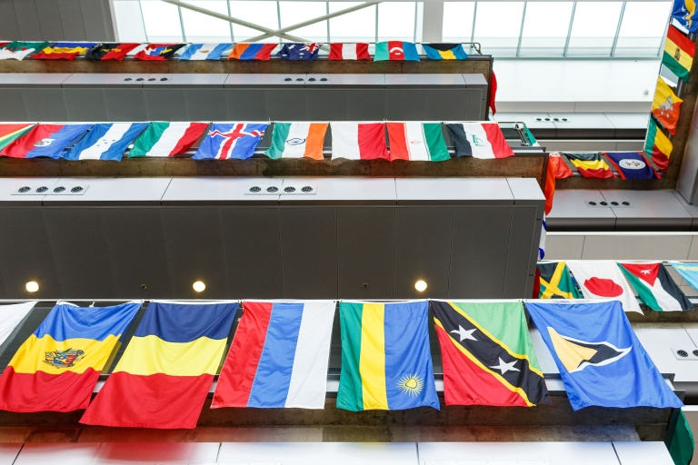 Flags hanging during International Festival at the IUPUI Campus Center.