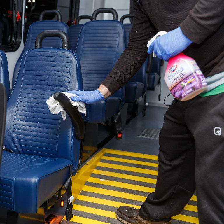 JagLine shuttle buses are being cleaned more frequently due to the novel coronavirus.