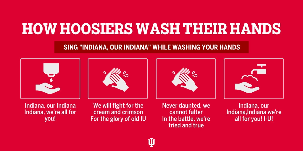 An infographic about using the IU fight song to wash your hands