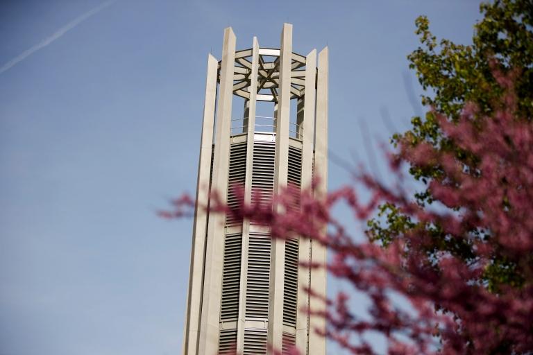 The Metz Bicentennial Grand Carillon towers into a blue sky