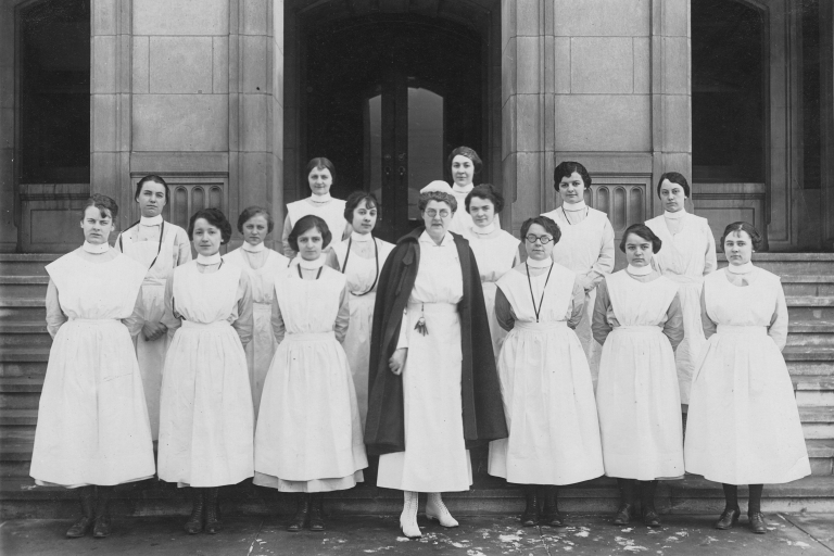 Ethel P. Clarke with nursing students