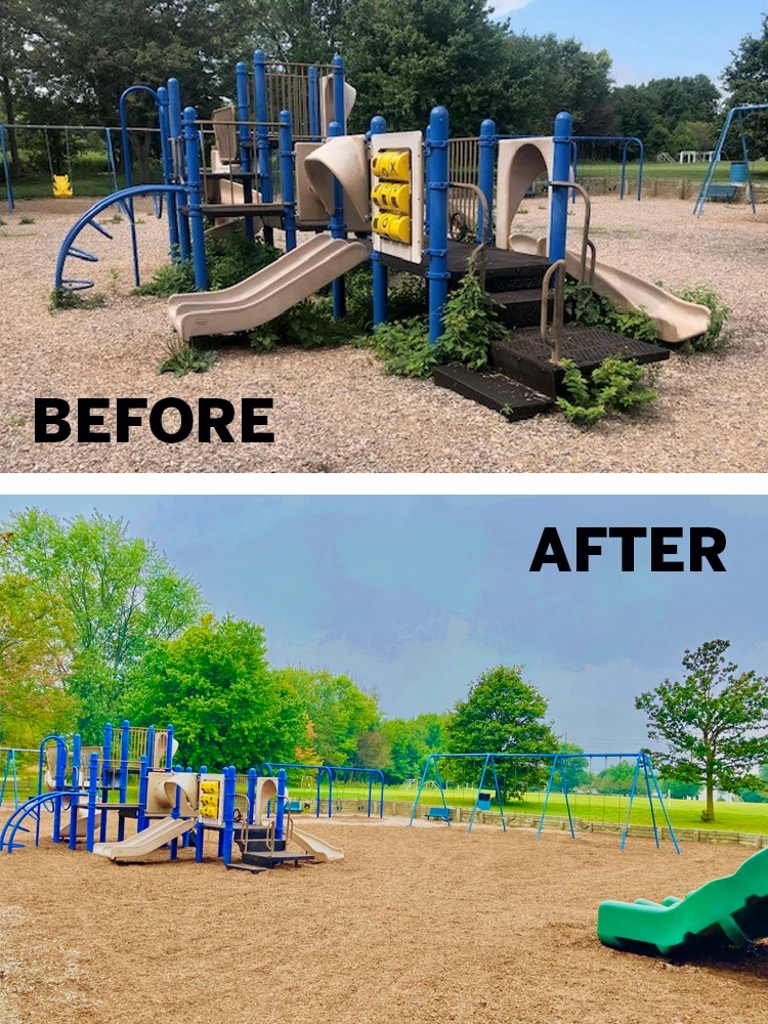 before and after pictures of park clean up