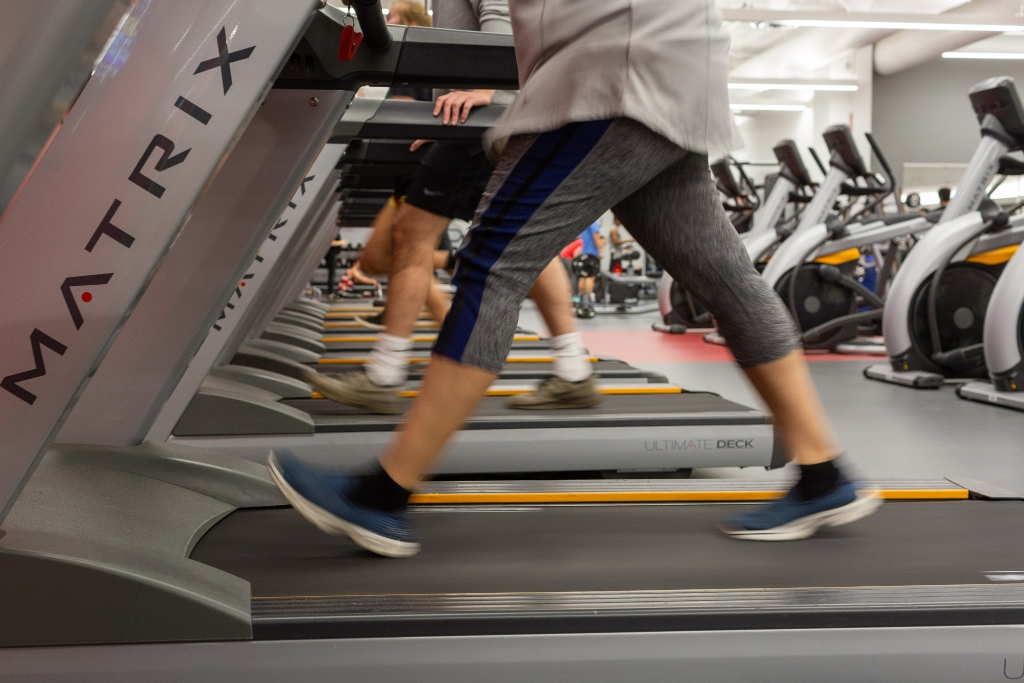 Members work out on the cardio equipment in the Fitness Center.