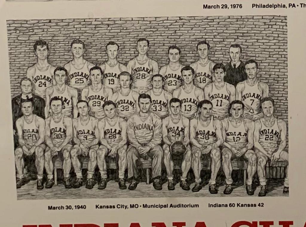 An illustration of the 1940 Indiana University championship basketball team