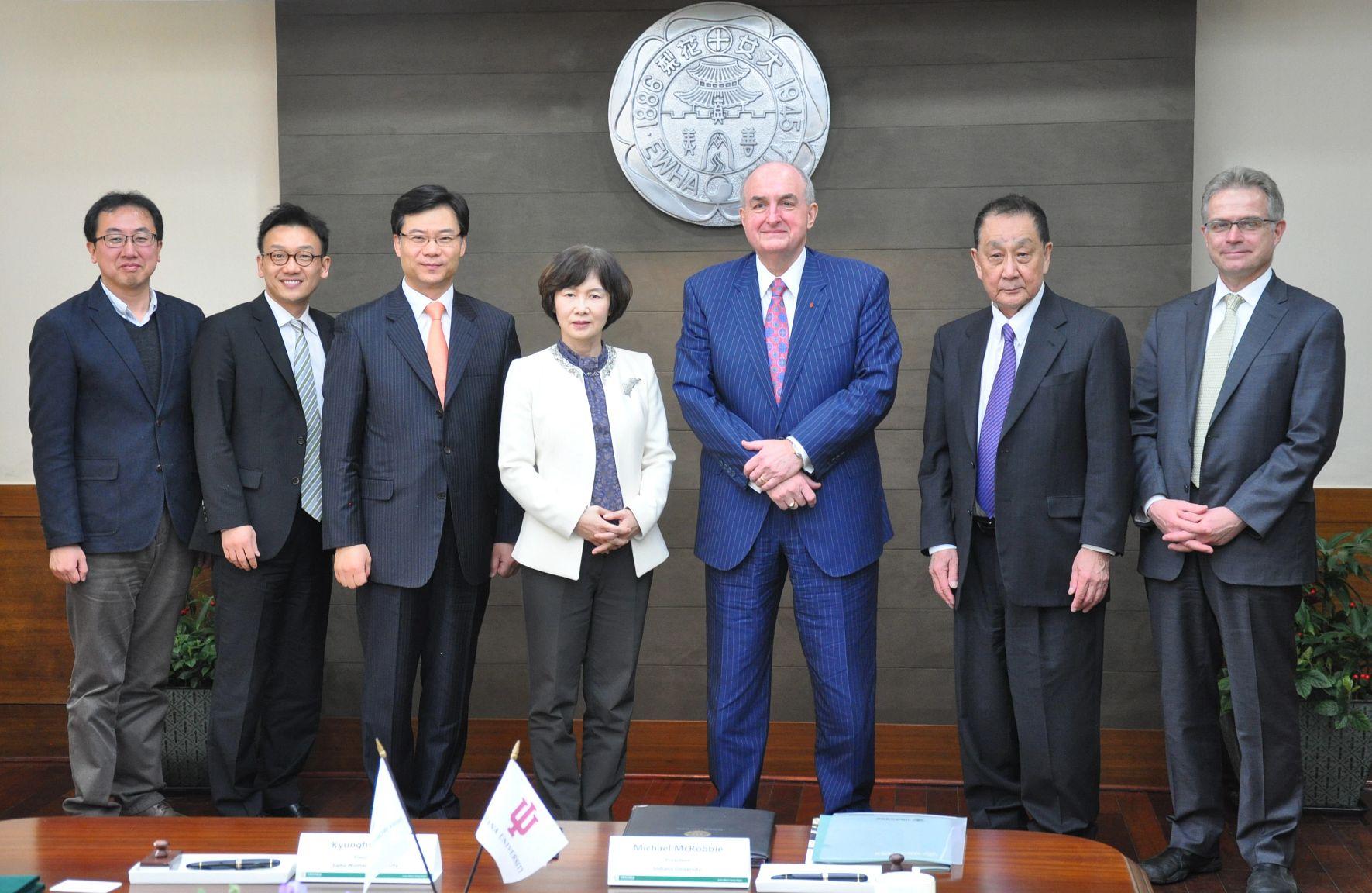 President McRobbie with international partners in South Korea