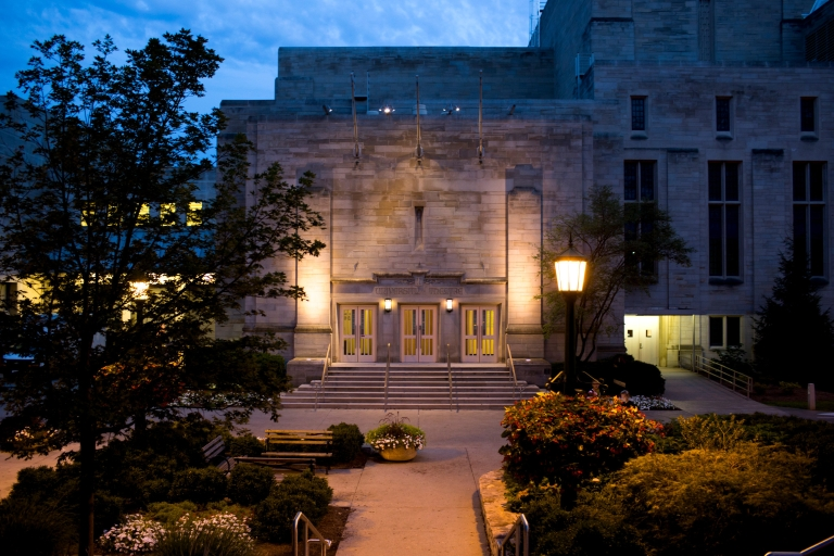IU Cinema seen from outside at night