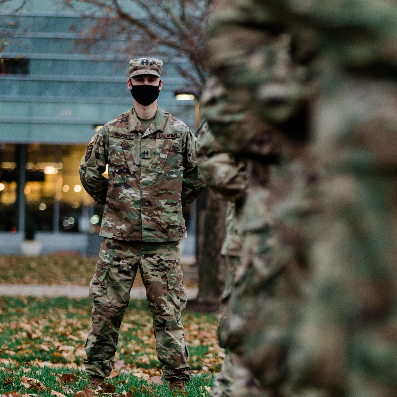 IUPUI ROTC soldiers line up on Veterans Day for a flag-raising ceremony
