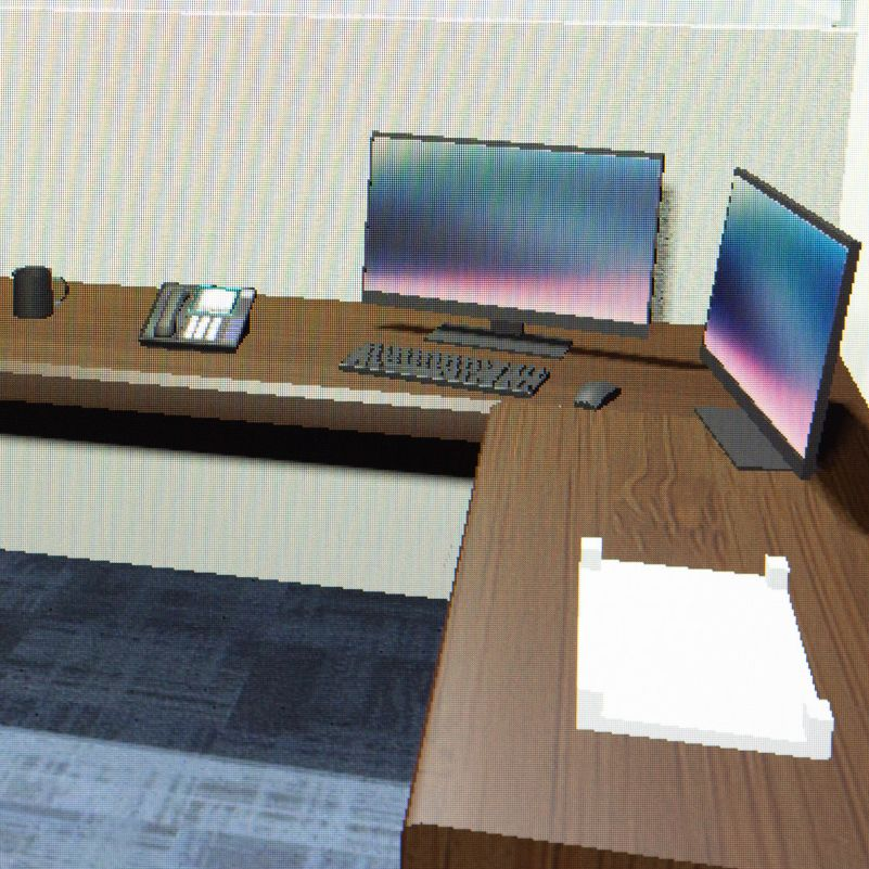 A virtual simulation of an office environment.