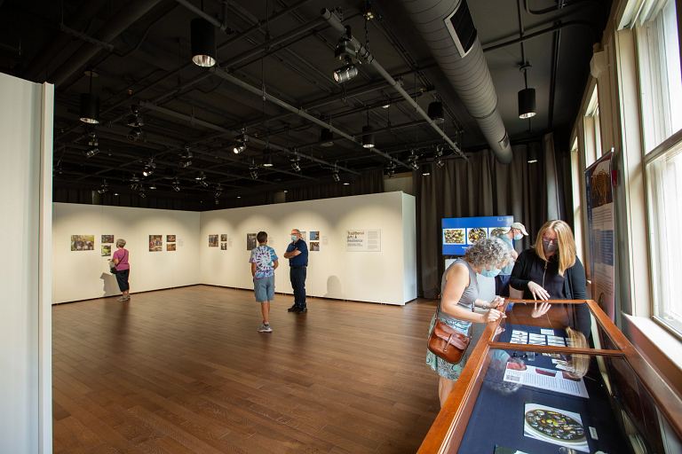 People browse art in the Cook Center gallery walk