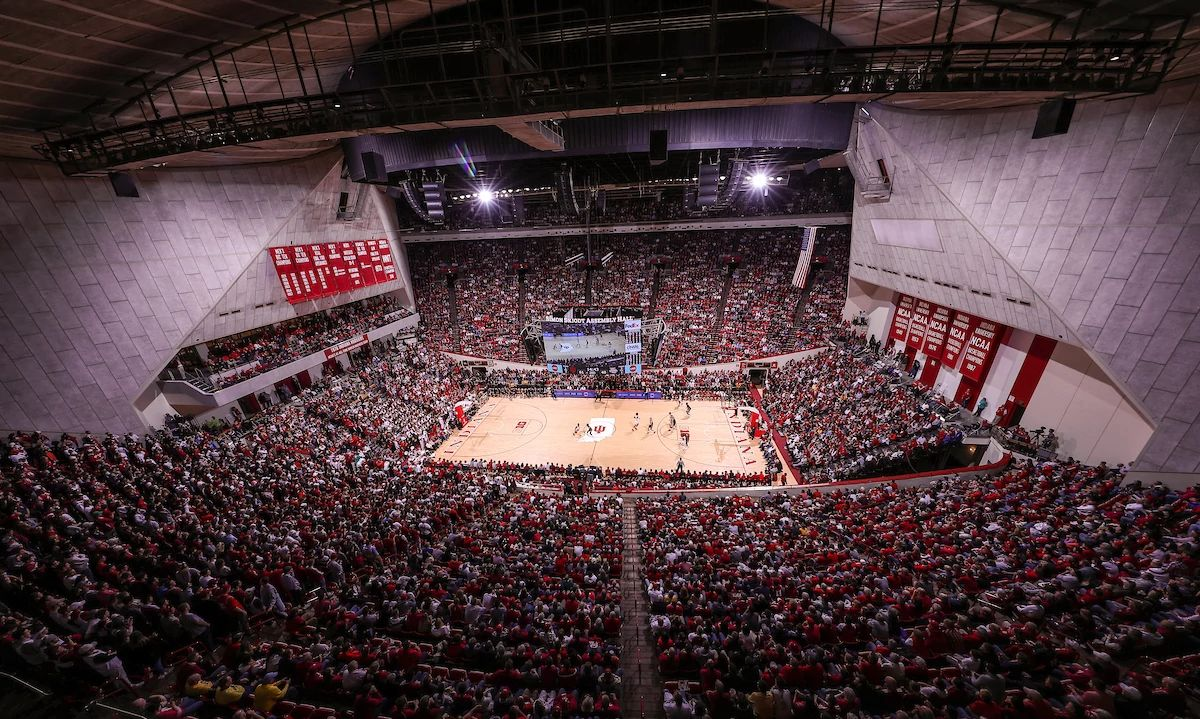 Bird's-eye view of the interior of Simon Skjodt Assembly Hall