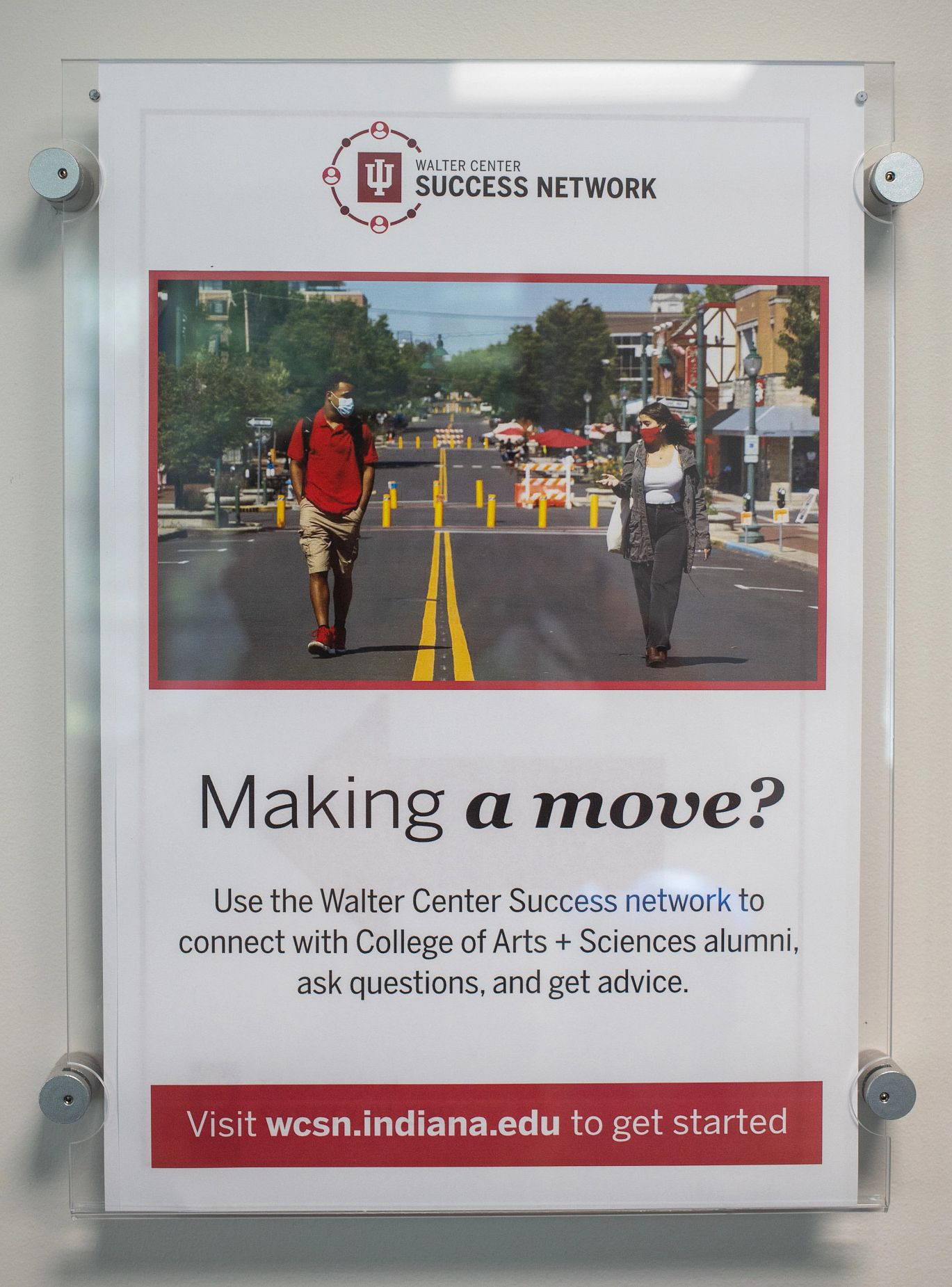 a flyer advises students about connecting with alumni about careers