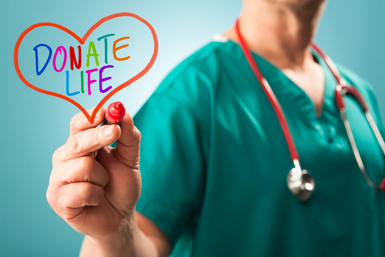 a doctor holding a heart with the words donate life on it