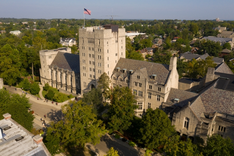 An exterior shot of the Indiana Memorial Union