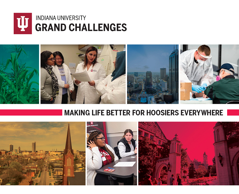 Several photos in a collage depicting Grand Challenges initiatives