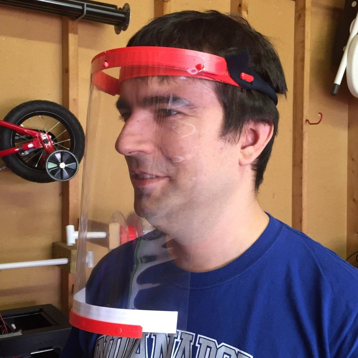 JD Mendez from IUPUC wearing a 3D-printed face shield