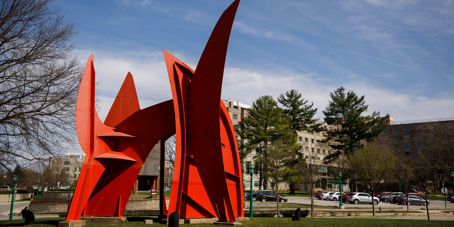 A red sculpture in front of the MAC on the Bloomington campus