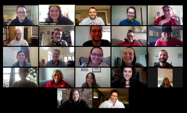 An image of a Zoom meeting shows the faces of staff from the Walter Center