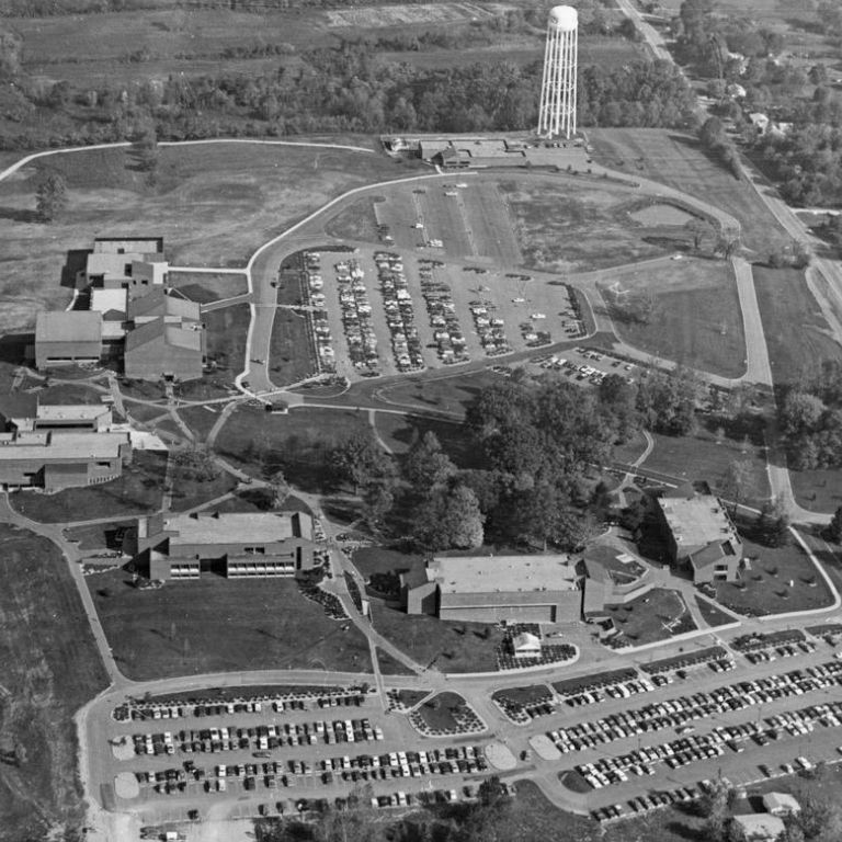 An aerial view of the IU Southeast campus, probably taken in 1977