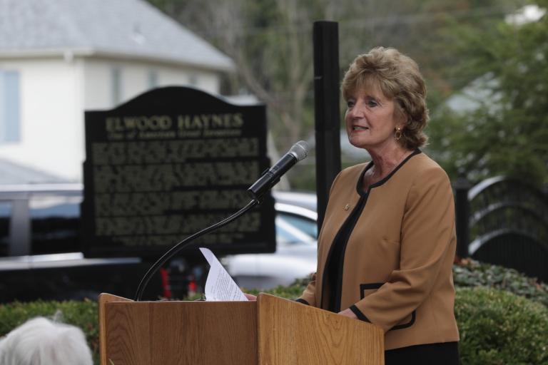 IU Kokomo chancellor Susan Scieame-Giesecke dedicates a new historical marker