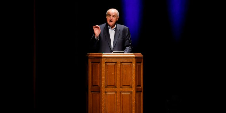 IU President Michael A. McRobbie introduces John Cleese