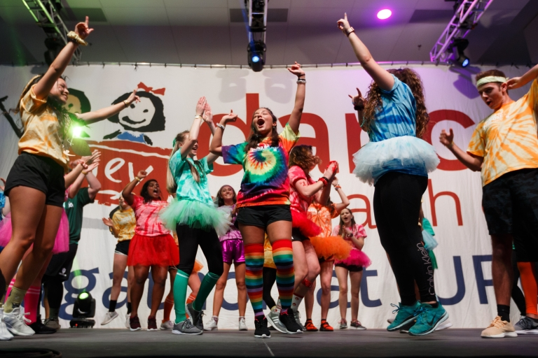 Dancers during IUPUI's Jagathon benefiting Riley Children's Hospital in 2019.