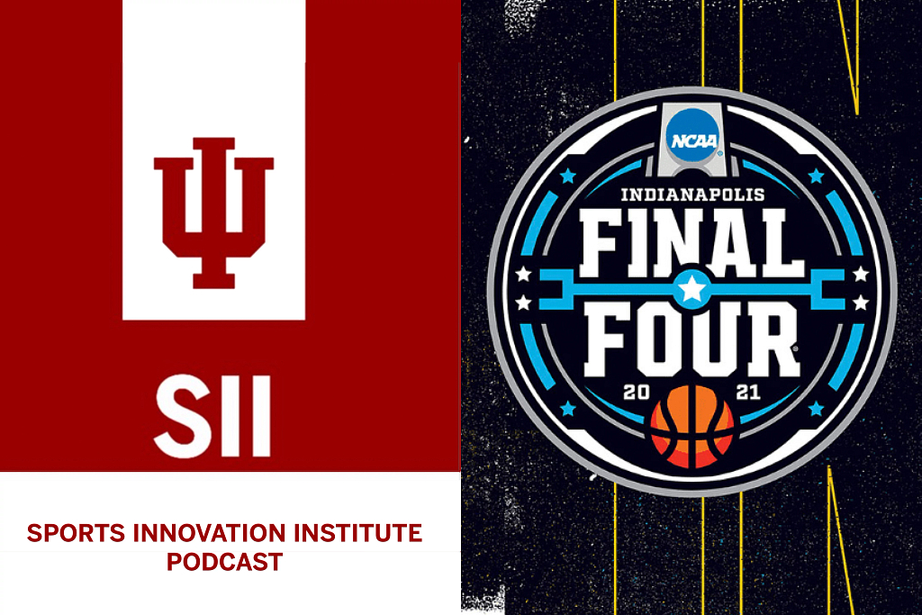 sports innovation institute podcast logo and NCAA final four logo