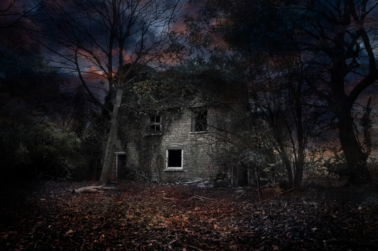 An eerie looking house sits in the middle of the woods. It's foggy and almost dark.