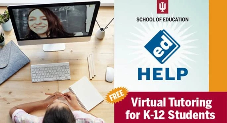 graphic promoting free virtual tutoring for students in kindergarten through high school