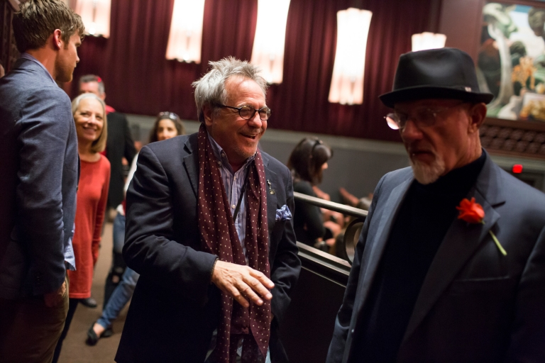 Director David Anspaugh shares a laugh with actor Jonathan Banks