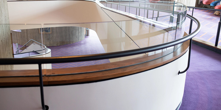 Renovated accessible ramp in second floor of the MAC
