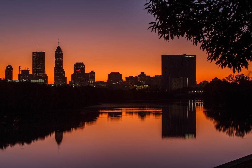 Indianapolis skyline at sunrise from the White River Parkway