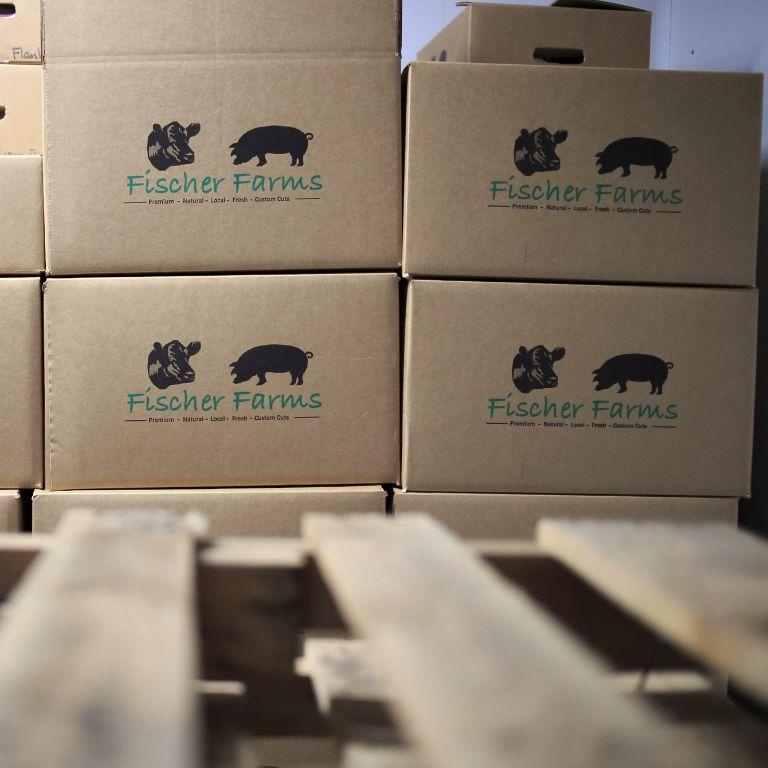 A pallet of Fischer Farms boxes