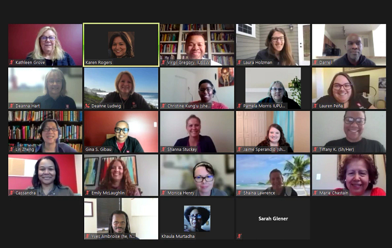a screenshot of a zoom call with 23 different people
