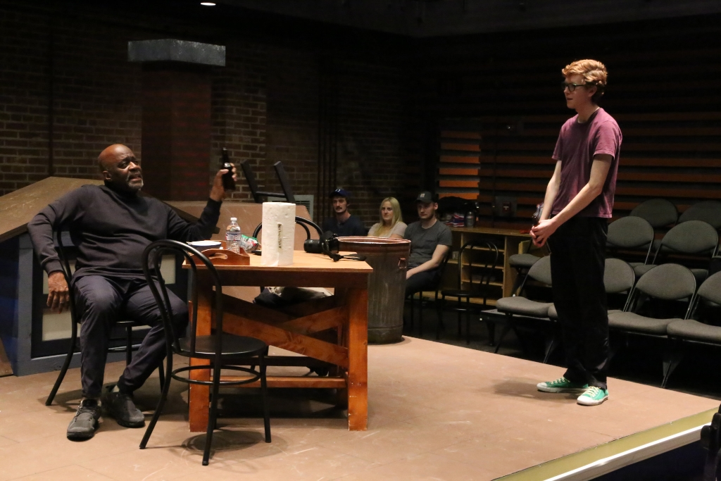 "Actors rehearse the play ""Ascendant"" before its January 22 opening"
