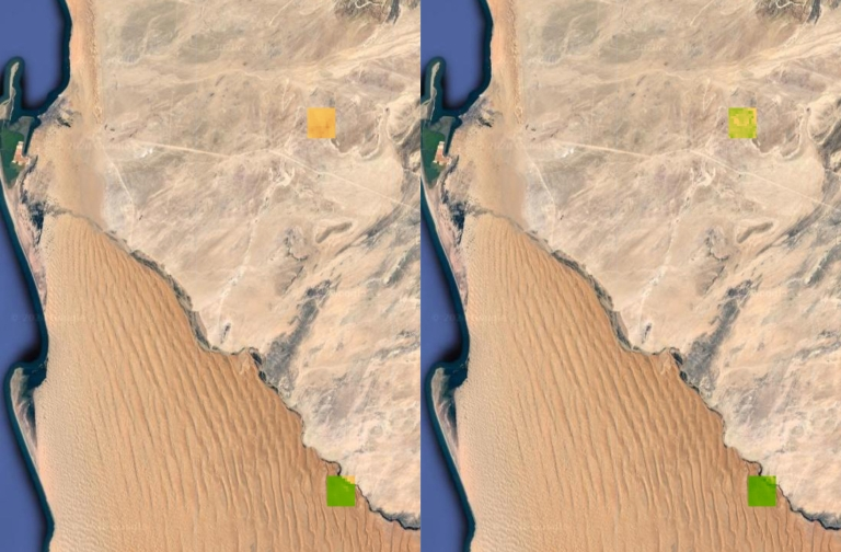 Two satellite images showing vegetation changes in two areas of the Namib desert